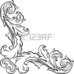 acanthus: Barokk díszes sarok finom elem fehér