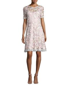 Laura+Short-Sleeve+Lace+Dress,+Pink+Pattern+by+Elie+Tahari+at+Neiman+Marcus.