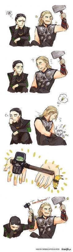 "Thor & Loki. Love how Loki is like, ""ahsdlgkh why I am related to you."" Oh wait..."