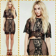 For Love &Lemons Wildflower  Skirt Set For Love & Lemon?s Lace Crop Top& Skirt Set Ladylike lace gets a youthful update with this lace crop top & skirt set in black & nude. The top has an ethereal feel with its sheer sleeves and lace embroidery while still remaining modern with contemporary cut-outs. If you love the top you'll love this high-waisted skirt to match with a nude slip under a black feminine lace. It?s the perfect look for when you?re feeling like a girly moment or a night out…