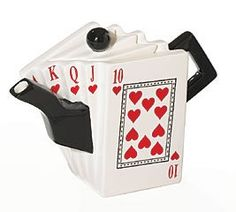 Royal Flush teapot .. in shape of  hand of playing cards fanned to show run of 10 to Ace of hearts, ceramic