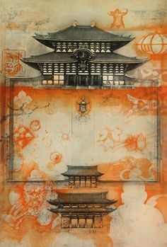 Etching by Jörg Schmeisser - Todaiji in Nara Intaglio Printmaking, Painting Prints, Art Prints, Drawing Artist, Calligraphy Art, Chinese Art, Asian Art, Japanese Art, Painting Inspiration