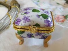 Purple Violets Porcelain Trinket Box w/ 3 Rhinestone Flowers, Purse Pins | eBay
