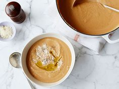 Repinned: Guy's Acorn Squash Soup #ThanksgivingFeast
