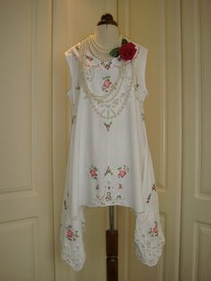 Gorgeous Upcycled Recycled White Vintage Cotton Lace Embroidered Battenburg Draped Tank Top Lagenlook Tunic