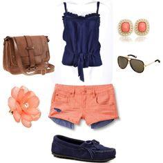 Summer, created by victoriaouellette on Polyvore. Love the color combination... navy and pink