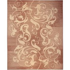 Kannapolis Rectangular Red with Cream Border Indoor/Outdoor Area Rug (Common: 8-ft x 10-ft; Actual: 7-ft 10-in x 10-ft)
