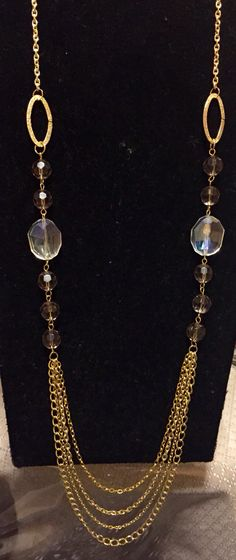 Glass beads with goldtone chain by Rosie H. Creations
