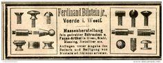 Original-Werbung/ Anzeige 1906 - SCHRAUBEN - MASSENHERSTELLUNG / FERDINAND BILSTEIN Jr. - VOERDE - ca. 100 x 35 mm