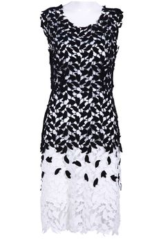 Black and White Sleeveless Leaf Guipure Lace Dress - Sheinside.com $65.00 #Sheinside