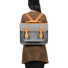 Briefcase Macbook Satchel Wool Felt Backpack Shoulder Bag | Etsy Macbook Bag, Macbook Sleeve, Laptop Bag, Thick Leather, Leather Handle, Diy Purse, Manga, Briefcase, Backpack Bags