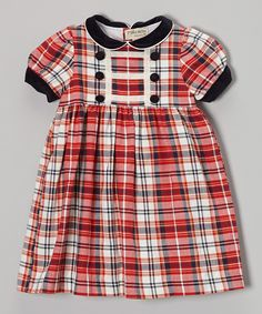 Red & Navy Plaid Collar Puff-Sleeve Dress - Infant & Toddler | Daily deals for moms, babies and kids