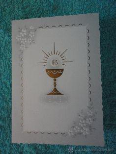 TARJETA INVITACION PRIMERA COMUNION. SANTO CALIZ. 1971. KRUGER ALEMANIA. 10,5 X 7,5 cm cerrado First Communion Cards, Baptism Decorations, Parchment Craft, Christian Quotes, Paper Art, Diy And Crafts, Christmas Cards, Projects To Try, Scrapbook