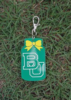 Green and gold Baylor BU mason jar keyring // So cute!! Perfect small gift for a Baylor Bear!