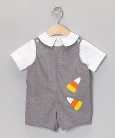 Take a look at this White Button-Up & Gray Candy Corn Shortalls - Infant & Toddler by Betti Terrell on #zulily today!