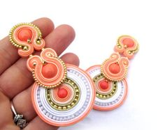 # types of Braids articles Bridal Clip On Earrings, Coral Earrings, Unique Handmade Soutache Earrings, Hand Embroidered Soutache Earrings, Bridal Earrings Wedding Coral Earrings, Coral Jewelry, Unique Earrings, Bridal Earrings, Tassel Earrings, Clip On Earrings, Bridal Jewelry, Shibori, Soutache Necklace