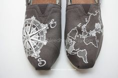 Custom Painted TOMS Shoes - Travel Compass and World Map in Gray and White - Adult on Etsy, $110.00