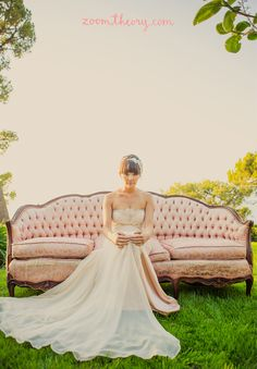 Blush Kirstie Kelly dress + vintage couch from Archive Rentals | www.zoomtheory.com