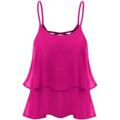 Thanth Strap Shirring Chiffon Cropped Tank Top Cami Blouse ($14) ❤ liked on Polyvore featuring tops, shirts, blusas, tank tops, crop tank, pink shirt, chiffon tank, spaghetti-strap tank tops and chiffon shirt