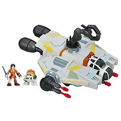 Star Wars Galactic Heroes The Ghost. 2-in-1 vehicle playset, Launch 4 projectiles. Removable cockpit becomes a scout vehicle. Dueling figure stands. toys4mykids.com