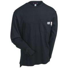 Wolverine Shirts: W1203290 003 Long Sleeve Firezero FR Men's Black Tee Shirt