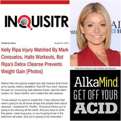"""AlkaMind on Instagram: """"Great article in THE INQUISITR tonight on how Kelly Ripa's #GetOffYourAcid Cleanse and alkaline lifestyle by her weight and fitness despite a broken ankle. @drdarylgioffre #HealthIsWealth #alkaline #DrDarylGioffre #GetOffYourAcid #KellyRipa GetOffYourAcid.com"""""""