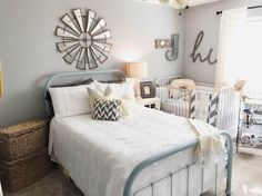 We styled this space to be inviting, warm and cozy, so that both baby and guests feel right at home. So began our Farmhouse styled nursery/guest room combo.