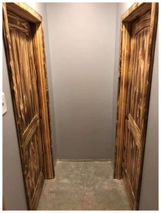Burnt Wood Door Design Idea You guys! You have got to see this Burnt Wood Door Design Idea! I have seen some of the most beautiful designs come from burning wood but this is exceptional! Masonite Interior Doors, Interior Barn Doors, Small Basement Remodel, Basement Remodeling, Remodeling Ideas, Basement Pool, Basement Laundry, Basement Plans, Torch Wood