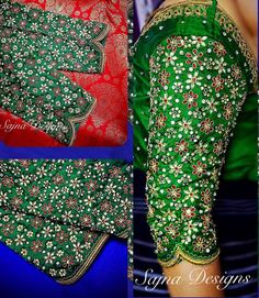 Beautiful green color bridal designer blouse with floral design hand embroidery kundan work.