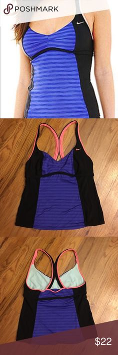 Women's Nike Racer Back Swim Tankini Size 14 Women's Nike Racer Back Swim Tankini Size 14, worn a few times! I love this top, it is super cut. There is no padding in the top but because of the racer back I didn't really need it. I switched up my bottoms from black to the pretty tangerine color in this suit. The colors are Deep Purple, Black and a pinkish Orange. Super cute and flattering. Nike Swim