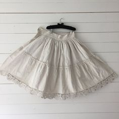 Natural Linen Handspun Circle Skirt Vintage by BeyondFranceLTD