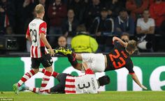 The England defender had burst past two defenders and into the penalty box when he was caught by PSV defender Hector Moreno