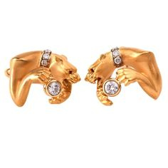 Carrera Y Carrera Diamond Gold Panther Motif Cufflinks   From a unique collection of vintage cufflinks at https://www.1stdibs.com/jewelry/cufflinks/cufflinks/