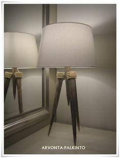 A Good looking table lamp from NHC Desing Pole Lamps, Shabby, Hexagon Pattern, Tripod Lamp, Edge Design, Wall Collage, Old And New, Beautiful Homes