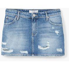 MANGO Medium Denim Skirt (1.655 RUB) ❤ liked on Polyvore featuring skirts, distressed skirt, denim skirt, distressed denim skirt, zipper skirt and blue denim skirt