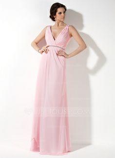 A-linjainen/Prinsessa V-kaula-aukko Tee Pituus Sifonki Morsiusneitojen mekko jossa Rypytys Helmikoristelu (007017157)