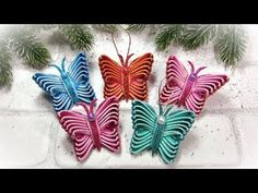 Diy christmas ornaments Butterflies 🎄 НОВОГОДНИЕ ИГРУШКИ ИЗ ФОАМИРАНА 🎄 Бабочки - YouTube Foam Christmas Ornaments, Christmas Gift Wrapping, Christmas Angels, Christmas Decorations, Simple Christmas, Handmade Christmas, Christmas Crafts, Foam Crafts, Crafts For Kids