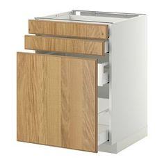 METOD / MAXIMERA Base cab pull-out storage/2 fronts - white, Hyttan oak veneer, 60x60 cm - IKEA