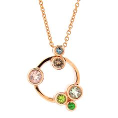 9ct Rose Gold BUBBLES Necklace set with Mint by argentonDesign, $1825.00