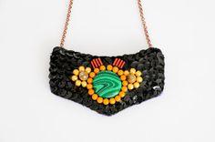 Malachite statement necklace and sequin statement by HandmadebyIru, €10.00