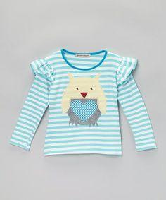 Look what I found on #zulily! Aqua Stripe Owl Top - Toddler & Girls #zulilyfinds