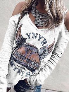 Women Casual Spaghetti Strap Letters T-Shirts Shirts & Tops, Casual T Shirts, Shirt Blouses, Women's Dresses, Half Sleeves, Shirt Sleeves, Chuck Taylors, Winter Fashion Casual, Shoulder Shirts