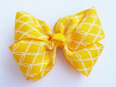 Sunshine Yellow Hair Bow  Girls Hair Bow  by MissLottiesBoutique