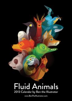 FLUID ANIMALS - This project came together very organically, firstly playing with a new simple, drawing style in my sketchbook, then taking these drawings into Adobe Illustrator and again keeping them nice and simple, allowing the curves and shapes of the drawing really shine and bring life and character to the animals. by Ben O'Brien