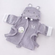 Hooded Hippo Baby Bath Robe