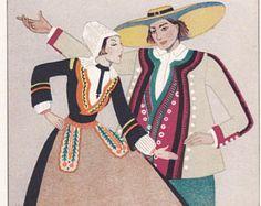 Vestido tradicional francesa Francia campesina traje moda vintage libro Kathleen Mann francés folklore Europa