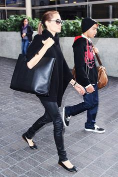 Angelina Jolie sports an all-black outfit for her travels