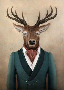 Hirsch Illustration, Cute Illustration, Pet Portraits, Portrait Art, Encaustic Art, Animal Heads, Cute Creatures, Canvas Artwork, Rock Art