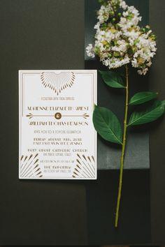 Art Deco inspired invitations // photo by @Tara Kneiser http://ruffledblog.com/1920s-inspired-knoxville-wedding #invitations #weddinginvitations #stationery