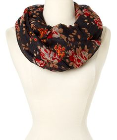 Look what I found on #zulily! Black Floral Infinity Scarf #zulilyfinds